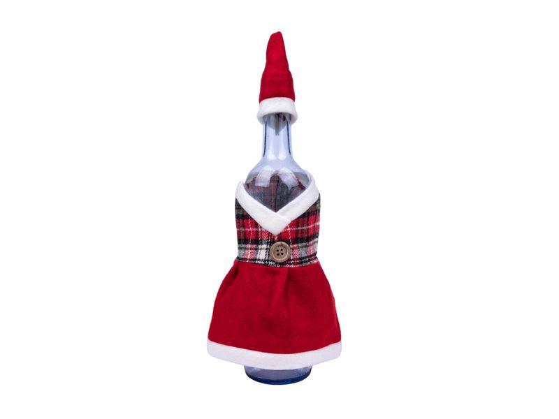 Kalėdinė dekoracija buteliui Kalėdų senelio forma