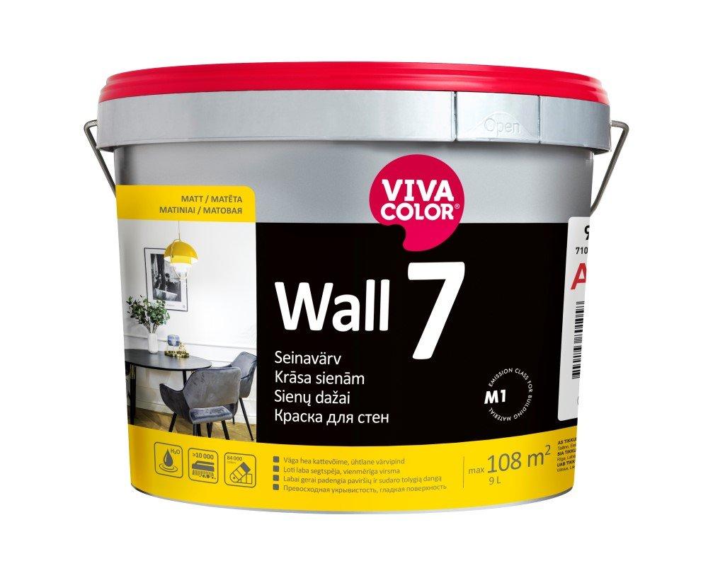 Vandeniniai vidaus dažai VIVACOLOR WALL 7, 9 l, A bazė, balti, matiniai