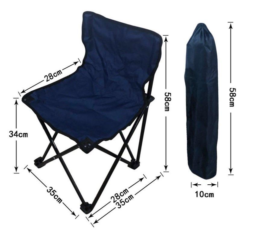 Sulankstoma turistinė kėdė  RF-FC01J, metalinė, juoda be rankų atramų 36x36x58cm