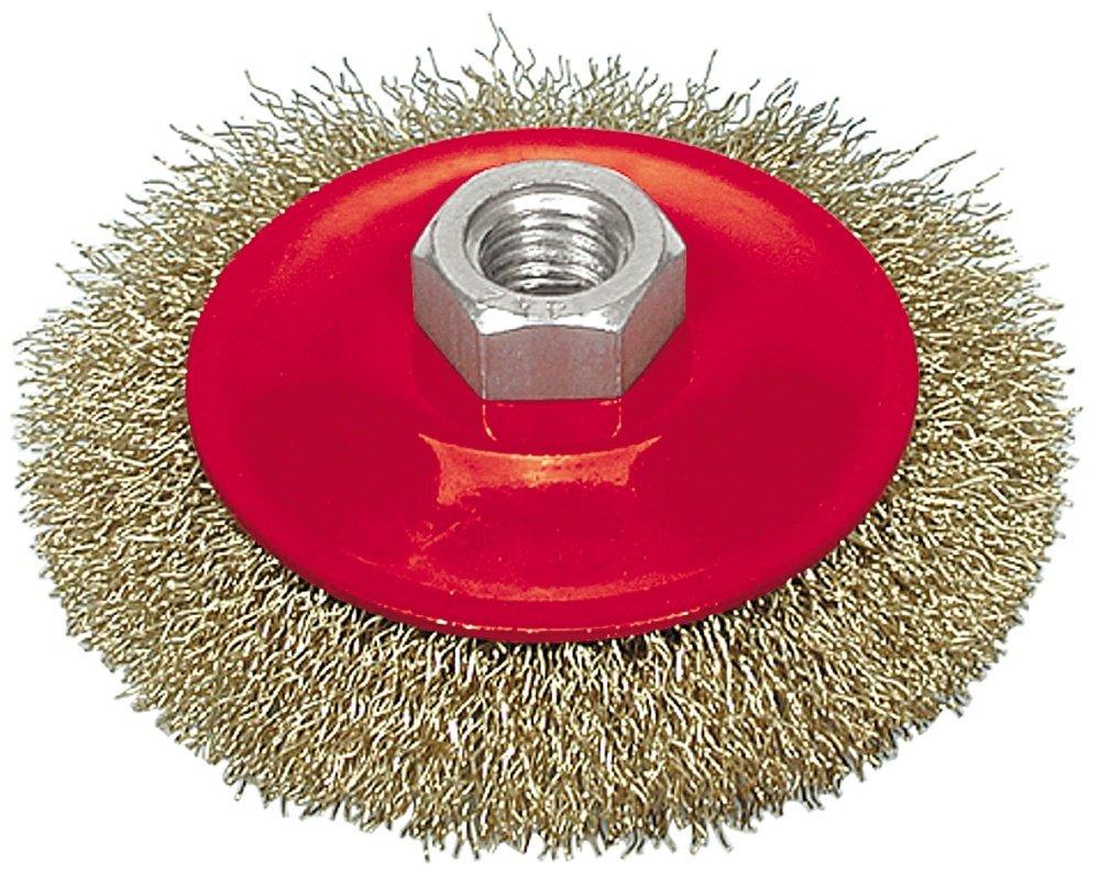 Šepetys metalui plieninis diskinis VOREL 6972 100 mm, su sriegiu kampiniam šlifuokliui.