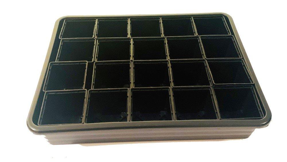 Daigų auginimo rinkinys su išimamais plastikiniais puodeliais (20 vnt.), 33 x 26 cm.