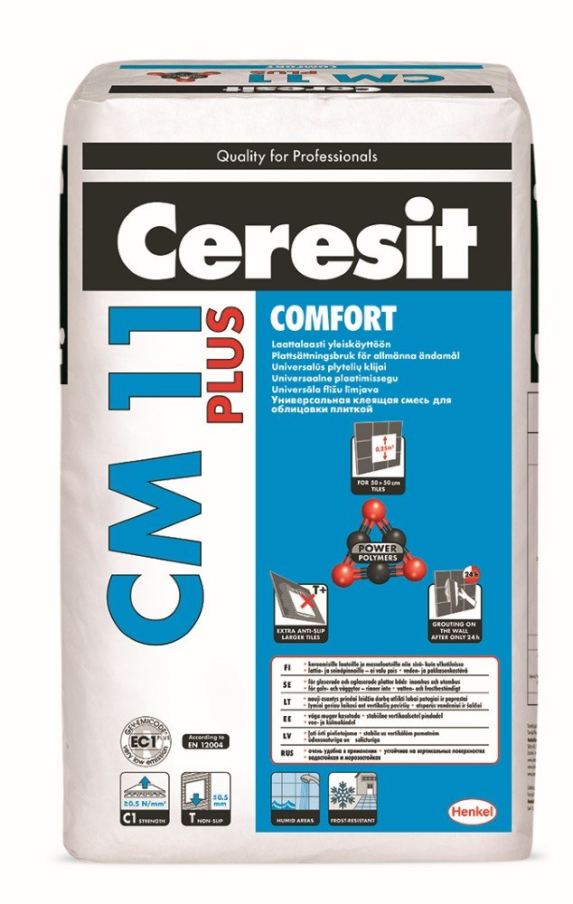 Plytelių klijai CERESIT CM11 COMFORT PLUS, 25 kg