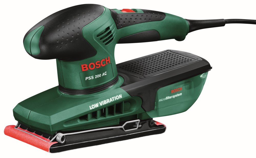 Vibracinis šlifuoklis BOSCH PSS 200 AC, galia 200 W, šlifavimo plokštė 93 x 182 mm. (0603340120)