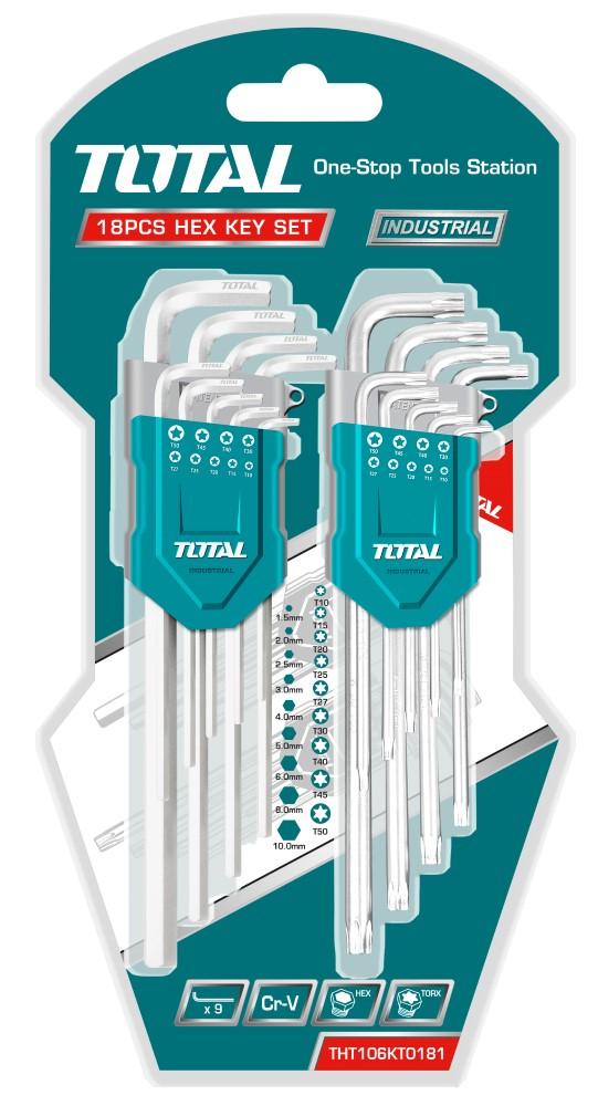 Šešiakampių ir TORX raktų rinkinys TOTAL, CR-V, 1.5-10 mm, T10-T50, 18 vnt, THT106KT0181