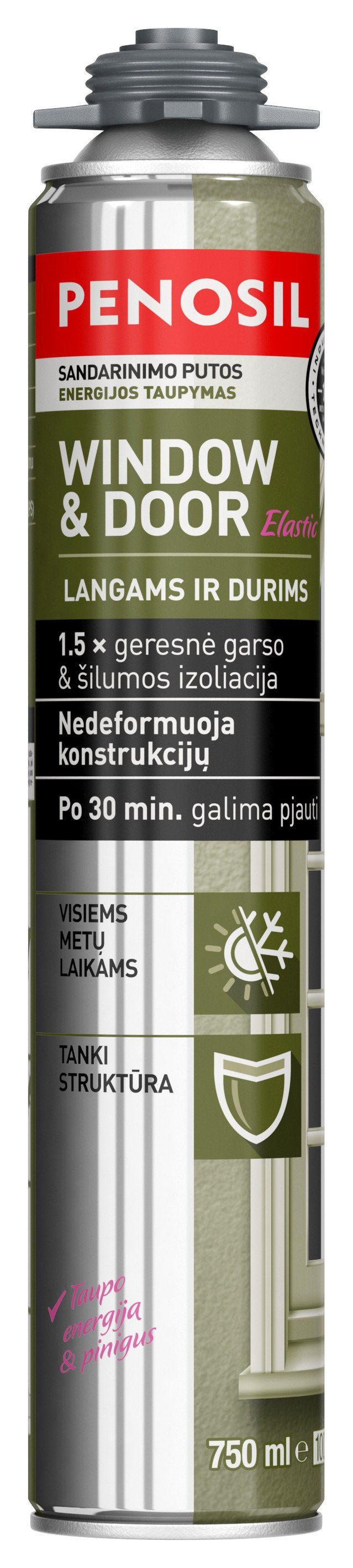 Montavimo putos PENOSIL WINDOW&DOOR Elastic, 750 ml