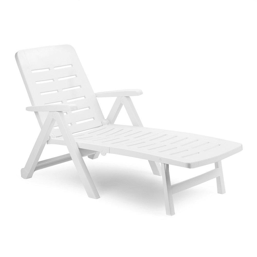 Plastikinis sulankstomas pliažo gultas SMERALDO su ratais, baltos spalvos, maks. apkrova iki 120kg