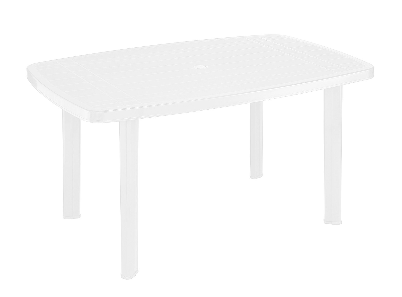 Plastikinis stalas FARO ovalus, baltos spalvos 137x85x72cm, maks. apkrova iki 60kg